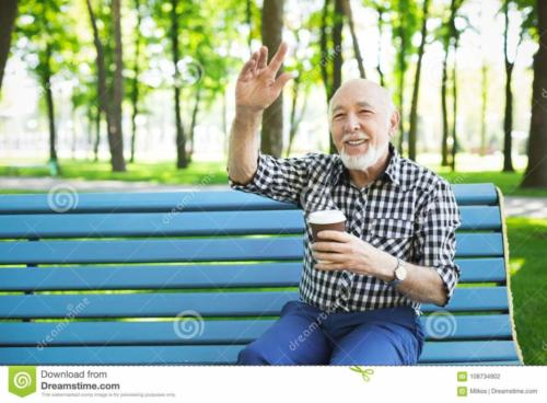 happy senior-man park bench 108734902 dreamstime